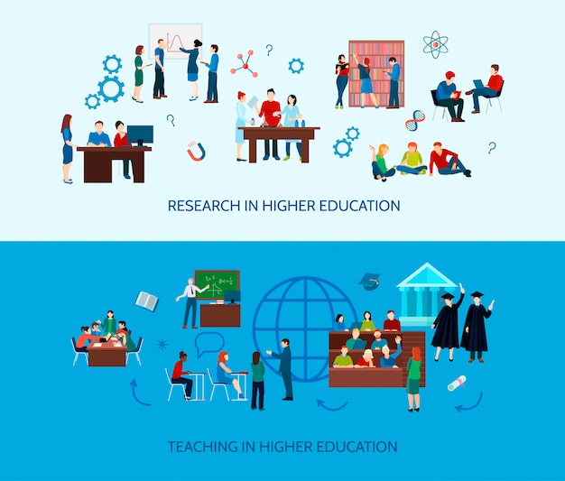 University learning horizontal banners with  studying students and search of information in flat sty Free Vector