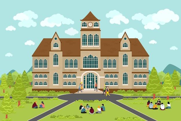 대학 또는 대학 건물. 교육 학생, 평면 캠퍼스 디자인, 졸업 대학, 무료 벡터