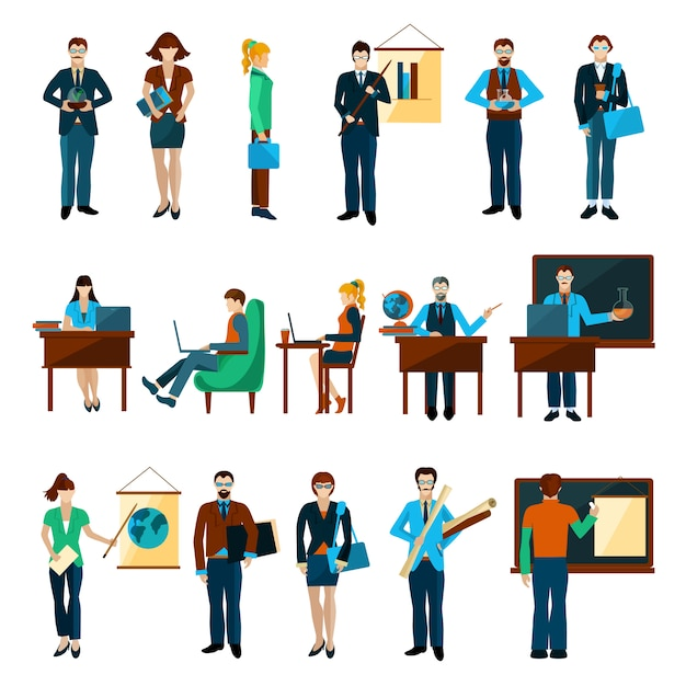 University people character set Free Vector
