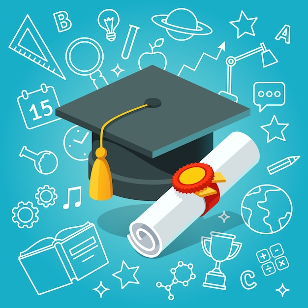 University student cap mortar board and diploma Free Vector