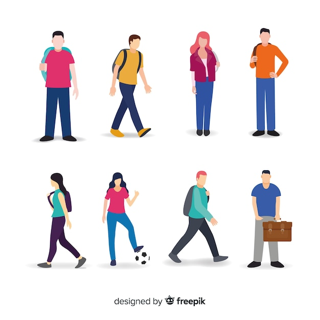 University student collection Free Vector