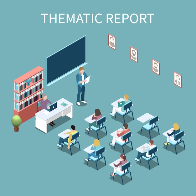 University student making thematic report in front of class isometric composition 3d vector illustration Free Vector
