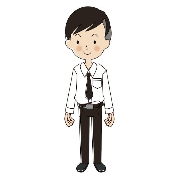 University student with uniform Premium Vector