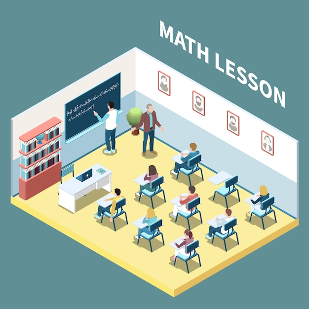 University students on maths lesson isometric composition 3d vector illustration Free Vector