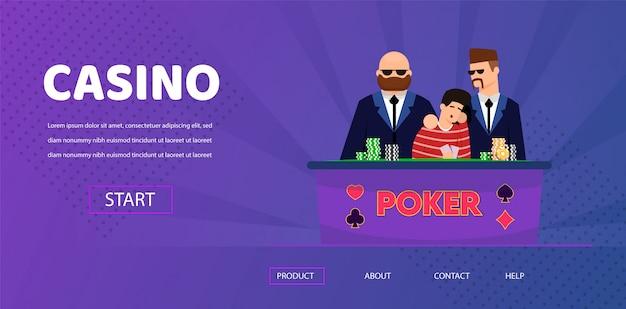 Unlucky man lose money security near casino table Premium Vector