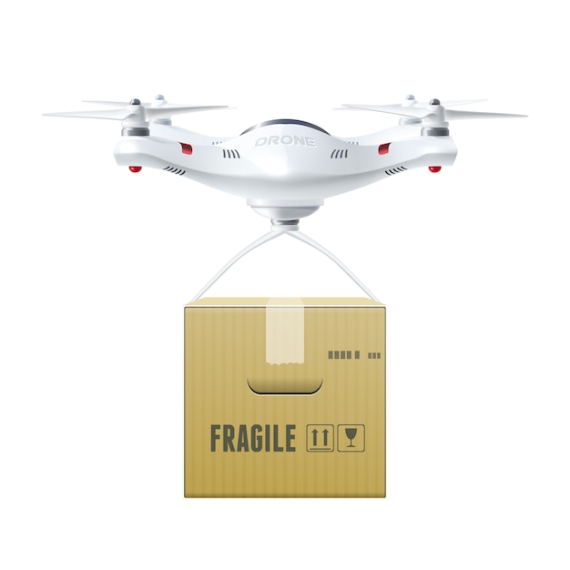 Unmanned drone with box Free Vector