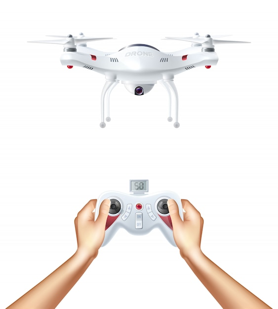 Unmanned drone with remote controller Free Vector