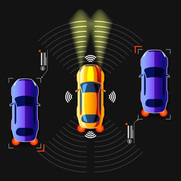 Unmanned smart car Premium Vector