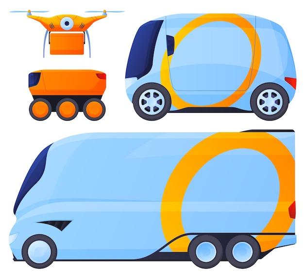 無人機。商品の合理的な配達、人間の介入なしの商品の輸送。ドローンによる配達 Premiumベクター