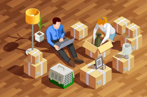 Unpacking boxes isometric composition Free Vector