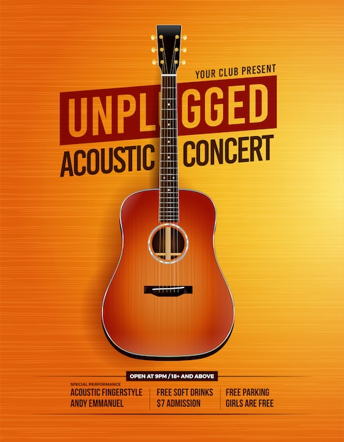 Unplugged acoustic guitar concert poster Premium Vector