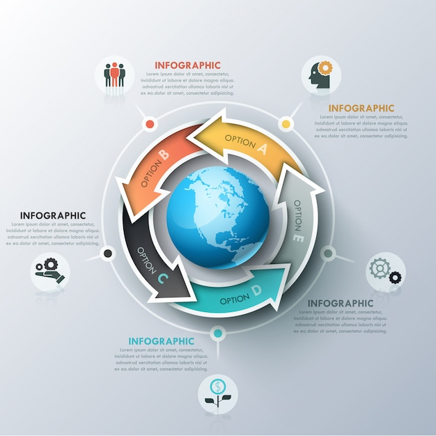 Unusual infographic design template with 5 colorful arrows located around sphere, icons and text boxes Premium Vector