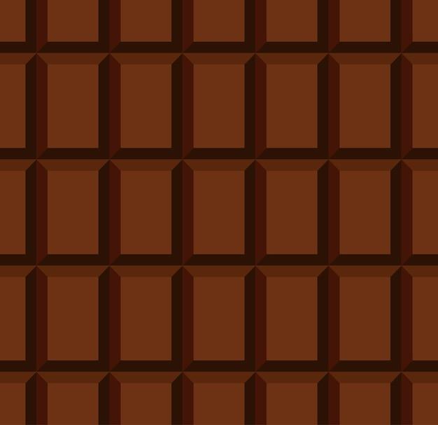 個別のブロックの行を持つラップされていない乳白色のチョコレートバーのシームレスパターン Premiumベクター