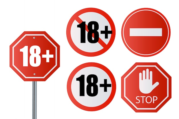 Up to 18 not allowed sign older than 18. number eighteen in red crossed out circle, polygon Premium Vector