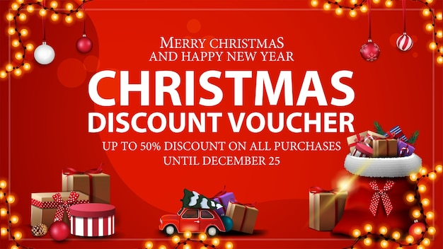 Up to 50 off on all purchases, red christmas discount voucher with santa claus bag with presents and red vintage car carrying christmas tree Premium Vector