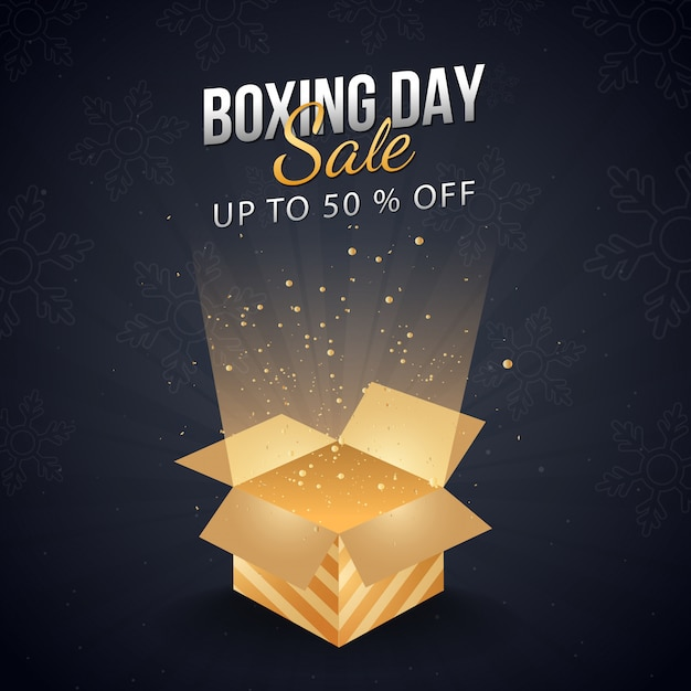 Up to 50% off for boxing day sale banner with magic gift box. Premium Vector