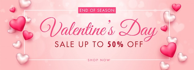 Up to 50% off for valentine's day sale header or banner design decorated with 3d hearts. Premium Vector