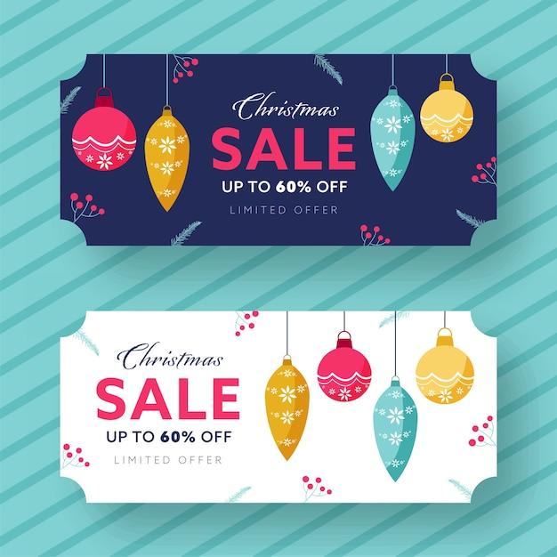 Скидка до 60% на оформление заголовка или баннера на рождественской распродаже Premium векторы