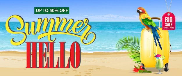 Up to fifty percent off, big sale summer\ banner. Fresh cocktail, red flower, yellow travel