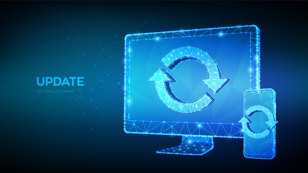 Update, synchronization, processing concept. abstract 3d low polygonal computer monitor and smartphone with update or sync sign. Premium Vector