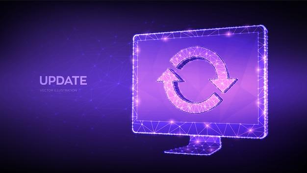 Обновление, синхронизация, концепция обработки. абстрактный низкий полигональный компьютерный монитор с обновлением или знаком синхронизации. Premium векторы