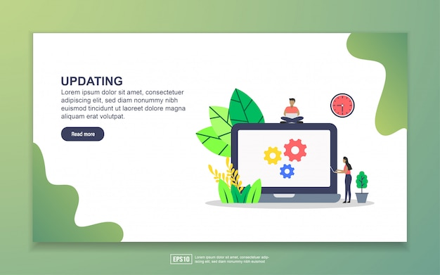 Updating with tiny people character landing page Premium Vector
