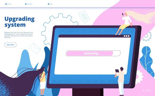 システムのアップグレード。アップグレードシステムのウェブサイト更新コンピューターラップトップソフトウェアpcメンテナンスベクトル Premiumベクター
