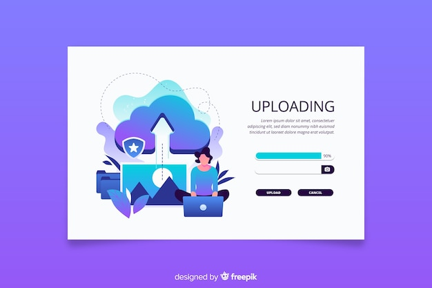Upload or cancel an image landing page Free Vector
