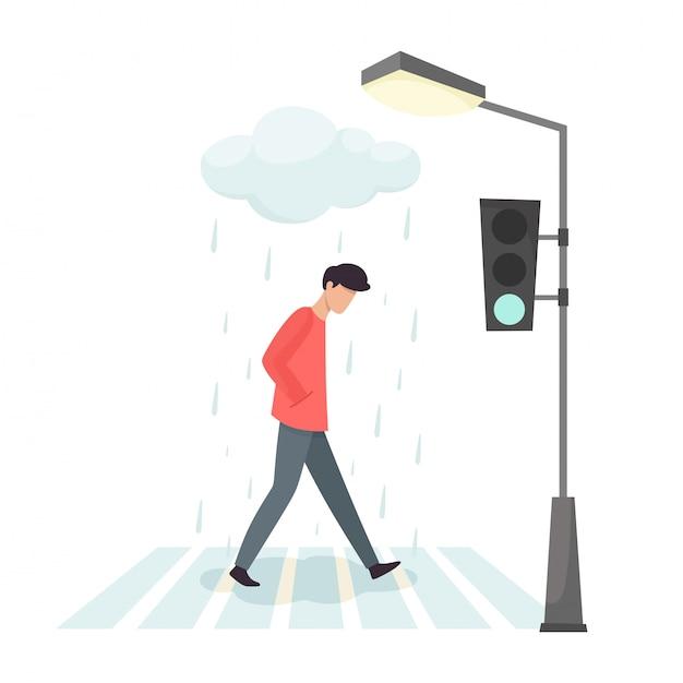 Расстроенный человек пересекает дорогу. грусть и раздражение человека. Premium векторы