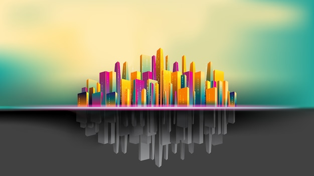 Upside down city, colorful and gray building beautiful background Premium Vector