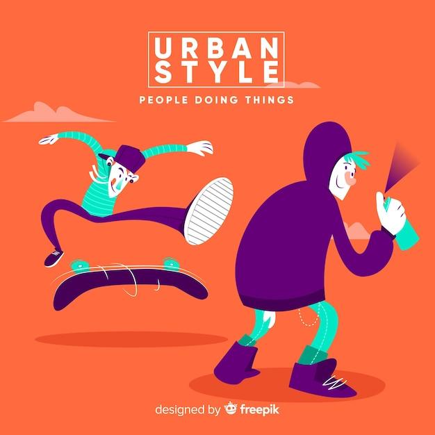 Urban activities Free Vector