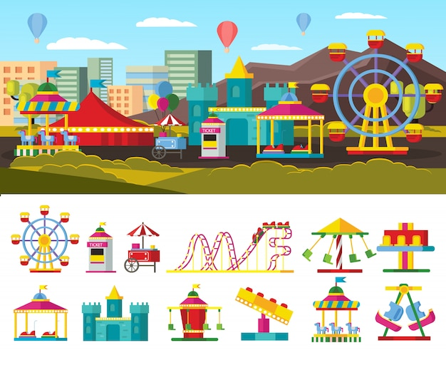 Urban amusement park concept Free Vector