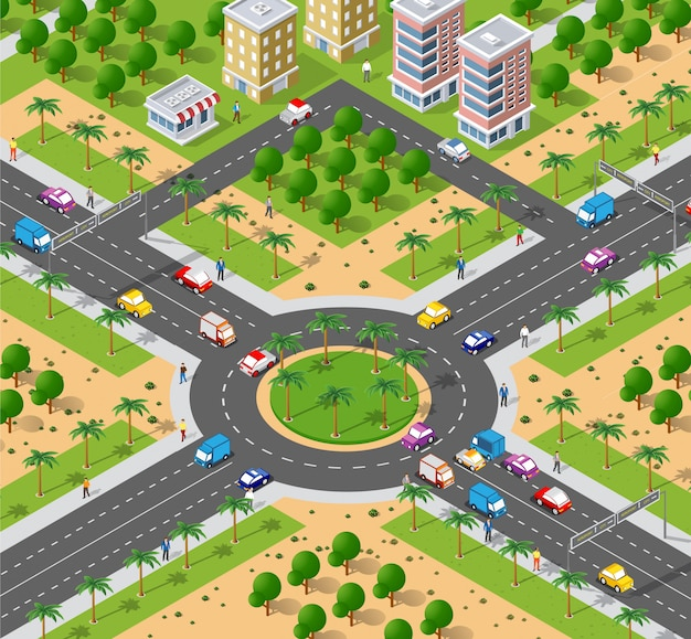 Urban area with an intersection Premium Vector