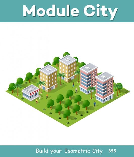 Urban area with streets Premium Vector