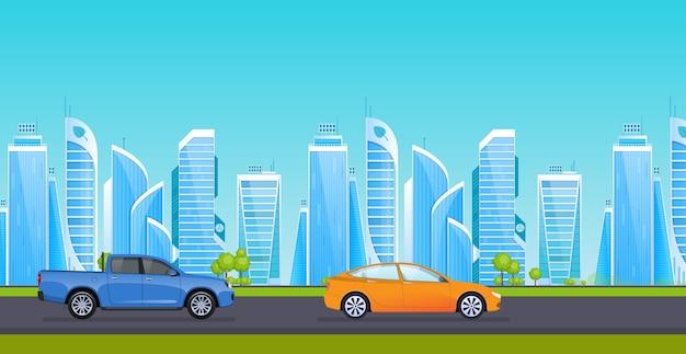 周辺の高層ビルの背景に交通機関がある都市のアスファルト道路。 Premiumベクター