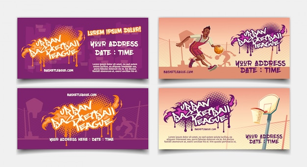 Urban basketball league competition cartoon horizontal flyer Free Vector