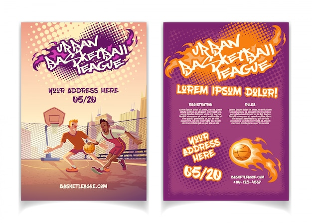 Urban basketball league tournament promo cartoon brochure with graffiti lettering text Free Vector