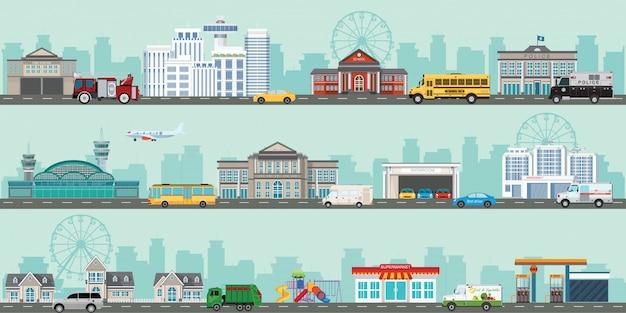 Городской большой городской пейзаж с различными большими современными зданиями и пригородом с частными домами. Premium векторы
