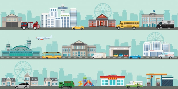 Urban big cityscape with various large modern buildings and suburb with private houses. Premium Vector