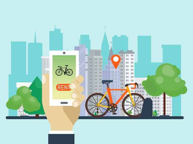 Urban bike renting system by using the phone app vector illustration. smart service for rent bikes in the city. Premium Vector