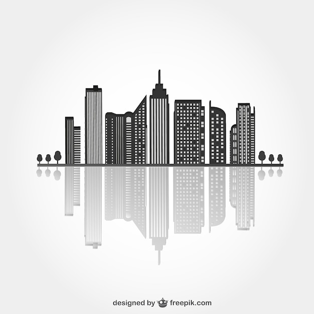 Urban black silhouette with reflex Free Vector