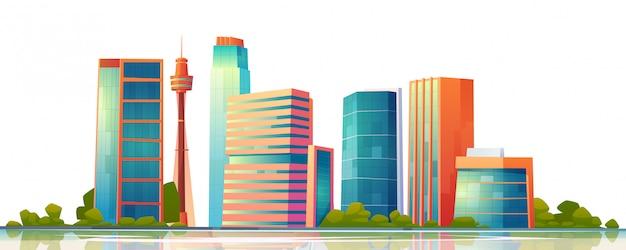 Urban building skyline panoramic banner Free Vector
