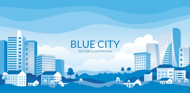 Urban building skyline panoramic illustration with houses Premium Vector