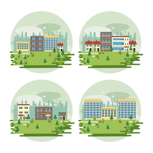 Urban buildings cityscape view scenarios Free Vector