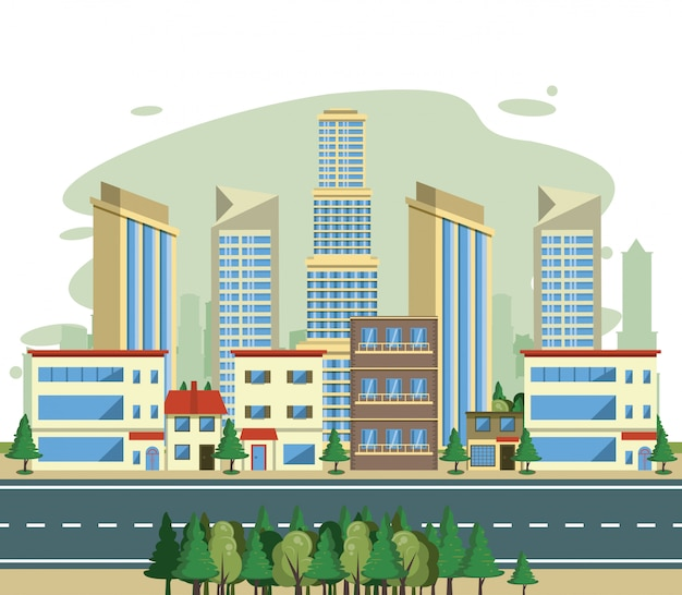 Urban buildings cityscape view scenary Free Vector