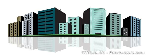 Urban buildings green illustration vector Free Vector