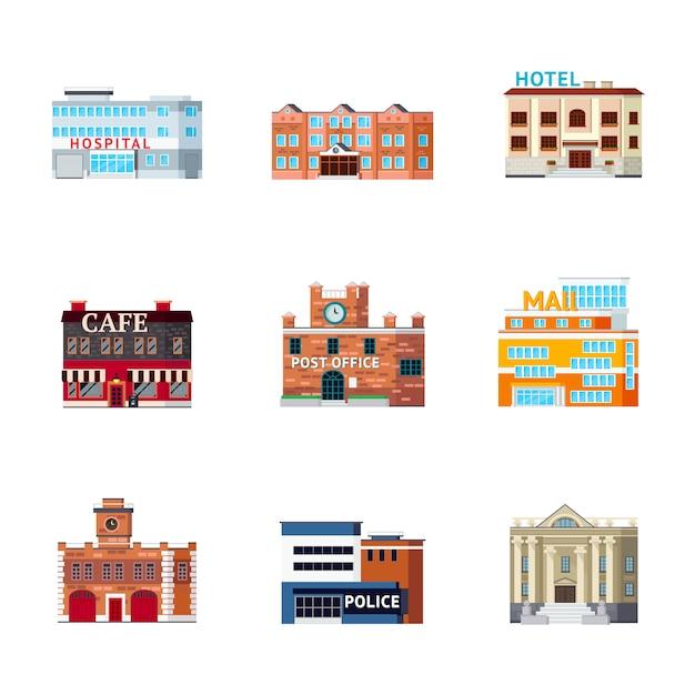Urban buildings icon set Free Vector