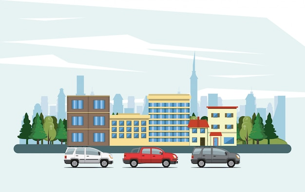 Urban buildings with cityscape scenery Free Vector