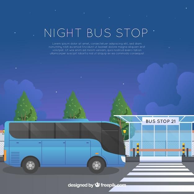 평면 디자인의 도시 버스 및 버스 정류장 무료 벡터
