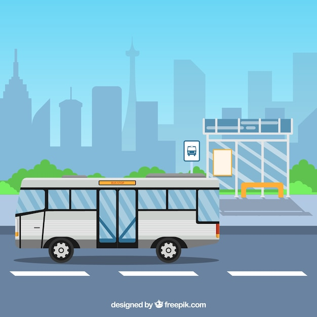 Urban bus and bus stop with flat design Free Vector